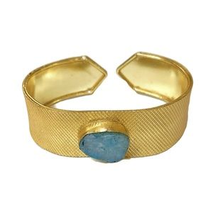 Gold Metal Cuff with Glass Stone accent